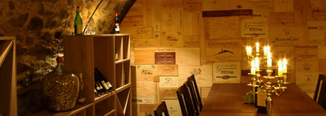 Detail view of our wine cellar in the hotel Goldener Anker in Radebeul